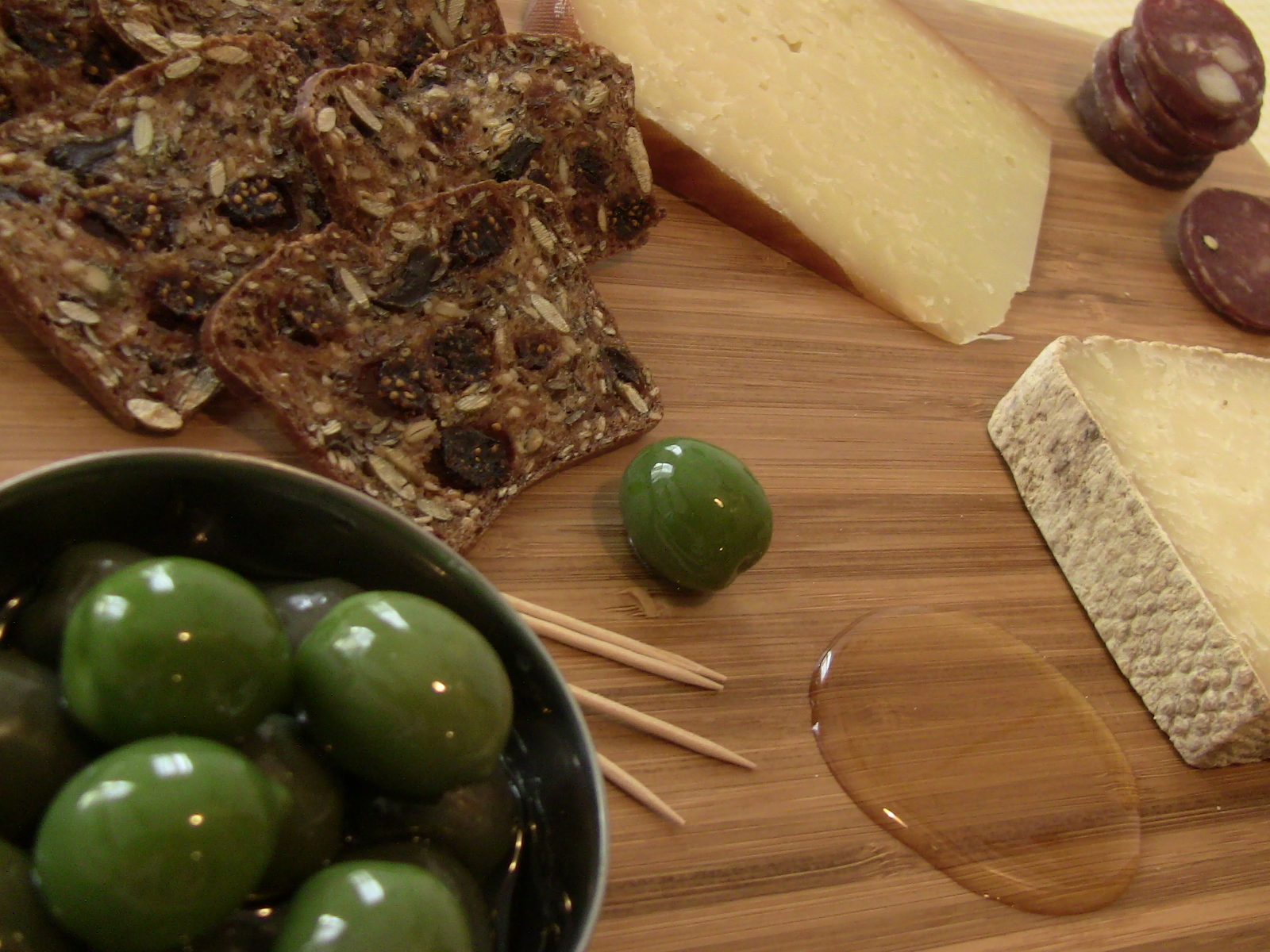 Fig & Olive Crackers, Castelvetrano Olives, and Honey