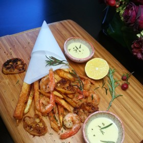 Pretzel Crusted Prawns with Herbed-Chili Fries and Wasabi Aioli