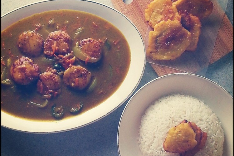 Seared Scallops in Coconut Curry with Basmati Rice and Fried Red Bananas