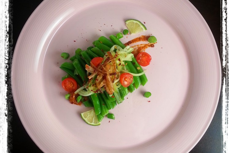 A Bean, Clean & Green, Played Up with Habanero Harissa, Persian Cucumber, and Crispy Red Onion