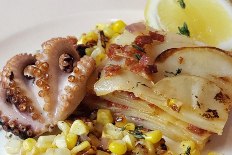 Octopus with Potatoes & Chorizo Gratin and Sweet Corn, Red Onions, and Calabrian Chili